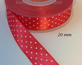 20 mm red shiny dots satin ribbon