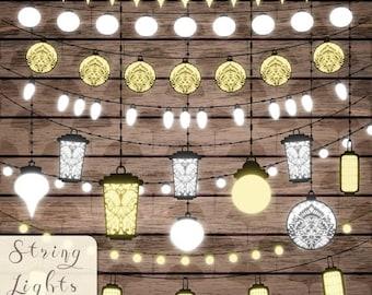 80% Until New Year - Wedding lights clipart Bright lanterns Lights strings Wedding clip art PNG Wedding bridal invites Digital lights Instan