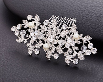 CAMILA Crystal Pearl Wedding Hair Comb Veil Gatsby Comb Vintage Hairpiece Bridal Hair Accessory Crystal Jewelry Headpiece