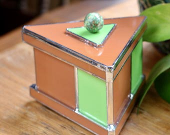 Stained Glass Box - Triangular Retro Green & Brown