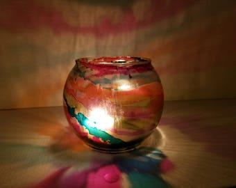 Tealight Lantern, Tealight Holder, Votive Lantern, Votive Holder, Rainbow, Light Projector, Glass Candle Holder,
