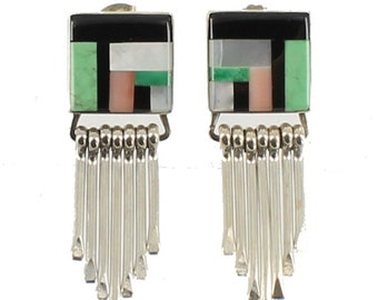 Vintage Sterling Zuni Inlaid Turquoise Coral MOP Onyx Mosaic Fringe Earrings