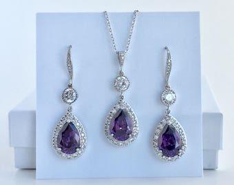 Amethyst Bridal Jewelry Set Amethyst Crystal Set Purple Cubic Zirconia Set Purple Crystal Wedding Jewelry Set Purple Bridesmaid Jewelry Set