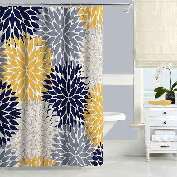 Blue And Yellow Shower Curtain Floral Gray