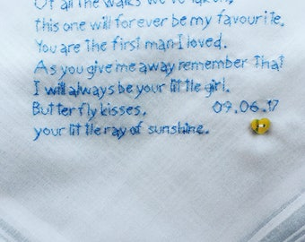 Hand Embroidered Small Poem Father of the Bride Cotton Handkerchief