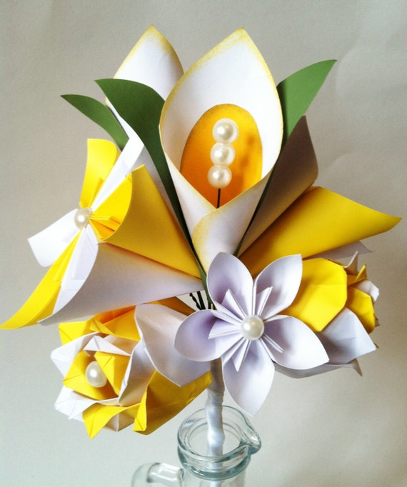 Calla Lily Paper Flower Bouquet Spring wedding first