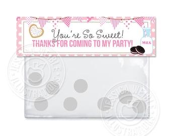 Toppers stampabile borsa rosa latte e biscotti, latte & biscotti grazie borsa etichette, etichette stampabili Cookie, Cookie partito trattare borsa Topper