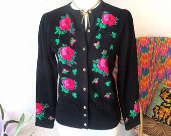 Vintage 80s Hot Pink Sweet Rose Applique Cardigan!