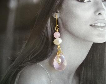 Rose Quartz & Freshwater Pearl Earrings - Vermeil Gold Earrings ~ Pink Faceted Tear Drop ~ Gift Box