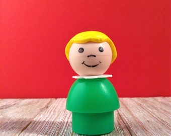 Fisher Price Little People Girl, Vintage Little People Green Girl w/ Yellow Blonde Hair, Little Girl Figure, Fisher Price Toys, Old Toys