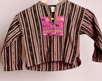 vintage kids southwest 70s GUATEMALAN ikat style childrens boxy SHIRT top kids size 4T