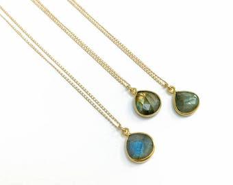 Labradorite Teardrop in Gold - Labradorite drop necklace, teardrop necklace, boho jewelry, gemstone jewelry, labradorite necklace, gold fill