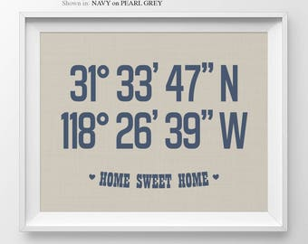 Personalized Longitude Latitude Housewarming Gift New Home Decor First Home Housewarming Bridal Shower Gift for Couple Anniversary Gift