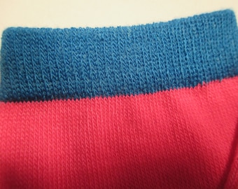 Leg Warmers  / Arm Warmers / Babylegs  - Bright Pink Solid with Blue Tops - Dees Transformations