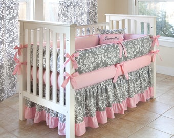 ON SALE !!! - Damask Gray Crib Bedding Set - by Sofia Bedding (choose trim color)