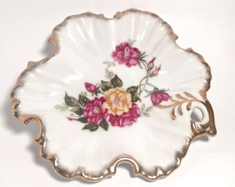Vintage floral ruffled candy dish