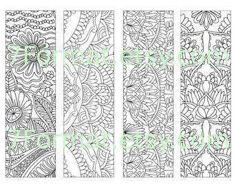Bookmarks Coloring Printable, scaleable PDF file super quality, Instant Download. 26v.