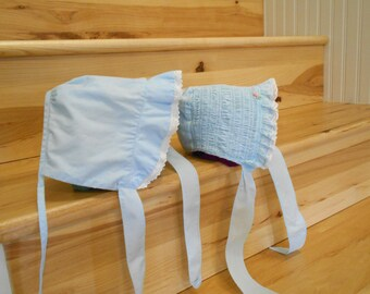 Vintage Doll Bonnets/Old Doll Bonnets/Blue Doll Bonnets/Doll Hats - Set of 2