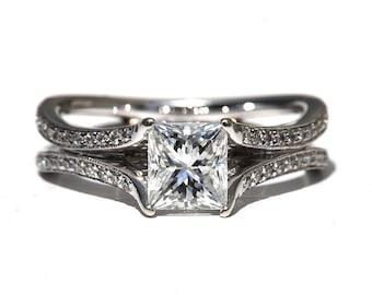 Princess Cut 1.35 carat Round - Diamond Engagement Ring 14K white gold - Split Open Double Shank - Weddings- Luxury- Bp016