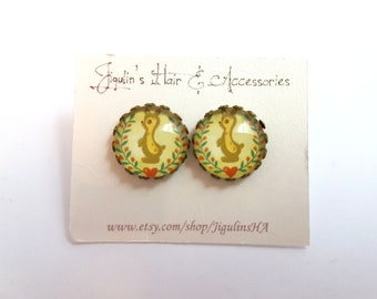 BUY 1 GET 1 FREE - Vintage inspired Bronze stud earrings 15 mm