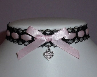 Pink Heart Choker Lolita Black Lace Bow Necklace Valentine Cosplay Pastel Goth Cute