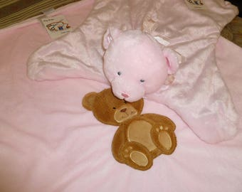 Pink fleece baby girl blanket with mat