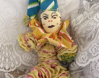 Vintage 1930s 1940s Clown Sock Yo Yo Quilt Sock Doll Fun Fabric Print Yarn Pom Poms Hand Home Made
