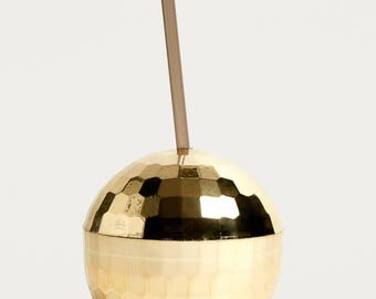 Gold Disco Ball Party Sipper Cup with Straw Miami Ibiza Party