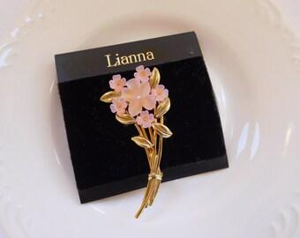Pink floral bouquet flowers brooch, Flower vintage brooch