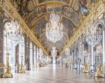 Paris Photography, Hall of Mirrors, Versailles, Paris Art Print, Chandeliers, French Wall Decor, Large Wall Art
