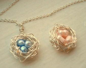 Nest Necklace Bird Nest Necklace Baby Shower Gift Nest Jewerly Mom Sister Friend Expecting Pregnancy Nest Blue and Pink Blush Beads