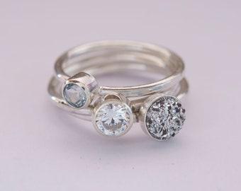 Stackable Ring Set, Gemstone Stacking Ring Set, Silver Stacking Rings, Blue Topaz Ring