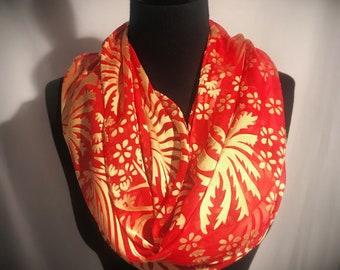 Springtime Burnout Silk Scarf//Large//Floral//Orange//Yellow//Original//Gift for Her