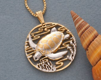 Sea Turtle Pendant and Necklace , Hand Cut Sea Turtle Medallion, ( # 587 )