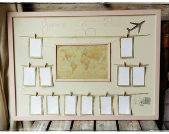 Your table plan, travel theme, handmade, personalized
