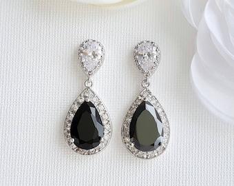 Black Wedding Earrings Crystal Black Earrings Cubic Zirconia Black Teardrop Earrings Bridal Earrings Black Wedding Jewelry, Zoe