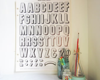 Vintage Typography Poster - Drop Shadow Uppercase Alphabet and Punctuation - (Pg 20)