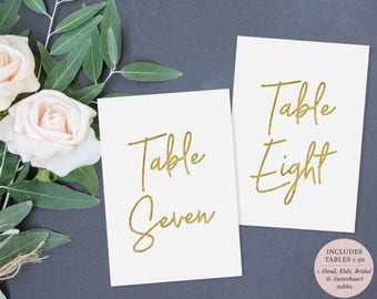 Gold Table Number Printable - Set of Tables 1-30 - Gold Faux foil - Instant Download - Printable PDF - 5 x 7 inches - #GD0318