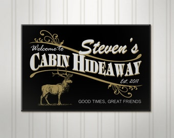 Personalized Cabin Retreat Sign, Deer Hunter ManCave Pub Sign, Personalized Sign, Personalized Beer Sign, Man Cave Bar Decor