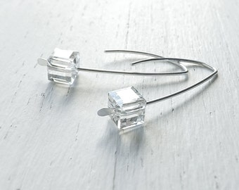 Mother gift Silver Earrings Open Hoop Threader Geometric jewelry, Clear Cube, Jewelry Gift for Women, Mothers Day gift, wife gift Mom gift