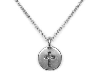 Small Cross Pendant, Simple Layering Necklace, Confirmation Gift, Religious Jewelry for Women