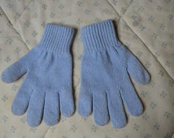 ON SALE  Vintage Pair of Light Blue Children's Gloves