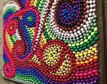 Rainbow Beaded Collage Art Canvas