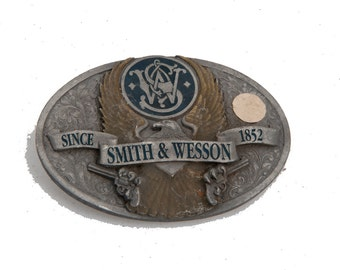 Vintage smith & wesson belt buckle heavy piece trophy