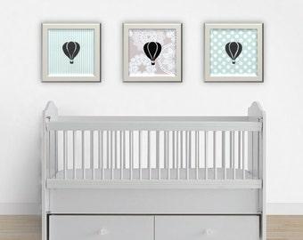 Pastel Nursery Art, Hot Air Balloon Art, Baby Room Decor, Playroom Decor, Girl Room Art, Boy Room Art, Printable Nursery Art, Pastel Prints