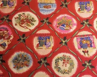 "Christmas Dream Cotton Fabric, 33"" x 44"", Vintage Clothworld, Teddy Bears Candy Cane, Holly, Wreaths, Snow, Stockings"