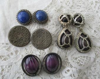 Vintage earrings x 4 clip ons