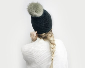 Double Brim Hat, Knit Slouchy Beanie ⨯ The Savante ⨯ in Charcoal with Mink faux fur pom