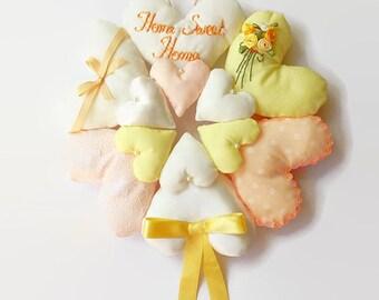 Hanging Heart Wreath / Heart Wreath / Shabby Chic Heart / Fabric Hearts / Heart Garland / Stuffed Heart / Heart Decoration / Home Sweet Home