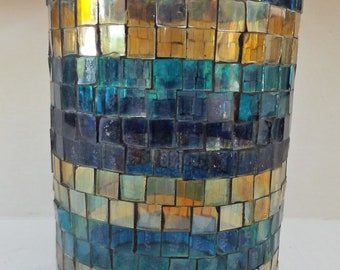 Shades of the Sea Stain Glass Pilar Candle Holder/Vase